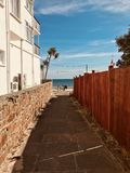 Small pathway in island of jersey royalty free stock image