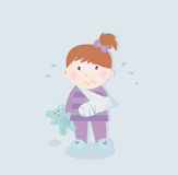 Small patient - child with fractured bone. Small crying child with fractured bone and blue teddy bear. Vector Illustration Royalty Free Stock Photos