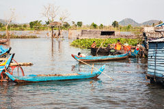 A small. Patio at home. Lake of Cambodia, the Tonle Sap. Hundreds of floating houses are located on the water. In these people live permanently. This way of Stock Photography