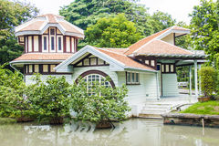 Small pavilion and pond Royalty Free Stock Photo