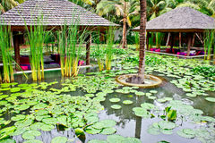Small pavillions in lotus pond 1 Stock Photos