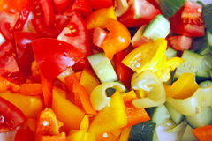 Small peaces of vegetable. Small peaces of colored vegetable Royalty Free Stock Photography