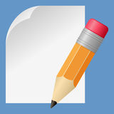 Small Pencil and Blank Paper. Small pencil and a blank page, on blue background. Empty space for your message. Eps file available Royalty Free Stock Photography