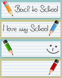 Small Pencils and Paper Banners Royalty Free Stock Image