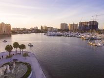 Bayfront Park at Sunset, Sarasota FL. The small peninsula of Bayfront Park, extending into Sarasota Bay, and with harbor to the right Stock Images