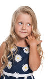Small pensive blonde girl Royalty Free Stock Images