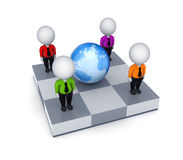 Small people around Earth. 3d small people around Earth.Isolated on white background.3d rendered Stock Photography