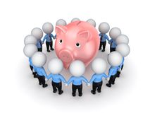 Small People Around Pink Piggy Bank. Royalty Free Stock Photo