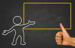 Small people and notice board on chalkboard Stock Photos