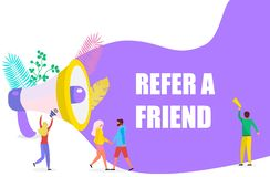 Small people shout on megaphone with Refer a friend vector illustration