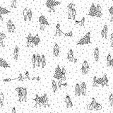 Seamless pattern of tiny pedestrians walking in winter through the city. Small people wearing warm winter coats and carrying Christmas trees, in black and white Stock Photos