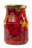 Small peppers in jar Royalty Free Stock Images