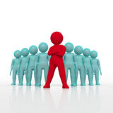 Small person the leader of a team allocated with red colour. 3d rendering. Isolated white background. Royalty Free Stock Images