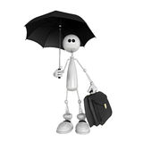 The small person with an umbrella and a portfolio Royalty Free Stock Images