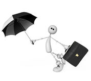 The small person with an umbrella and a portfolio Stock Images