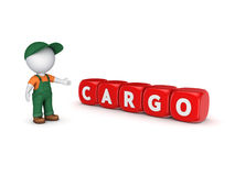 Small person in workwear and word CARGO. Stock Images