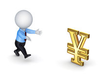 Small person and yen symbol. Royalty Free Stock Images