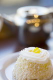 Small Personal Lemon Dessert Cake Royalty Free Stock Images