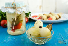 Small Pickled Onion `Pearl` in a transparent bowl of glass Stock Images