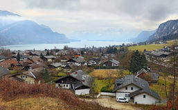 Small picturesque village St. Gilgen by the Wolfgangsee in the Austrian state of Salzburg, in the `Salzkammergut` region. Austria. Stock Photography