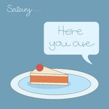 A small piece of salary cake. Received Royalty Free Stock Photography