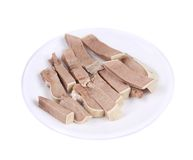Small pieces of chopped cow tongue. Stock Photography