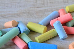 Small pieces of colorful chalks Stock Photo