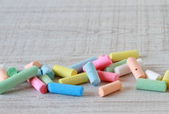 Small pieces of colorful chalks Royalty Free Stock Images
