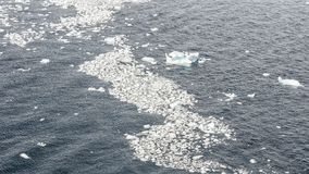 Small pieces of ice floating on bay in Antarctica stock photography