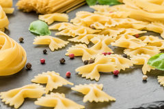 Small pieces of pasta shaped like butterflies` wings Stock Images