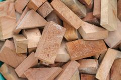 Small pieces of wood chips, various shapes stock photo