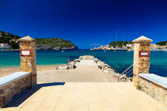 Small pier at the beach of Port de Soller Stock Photography
