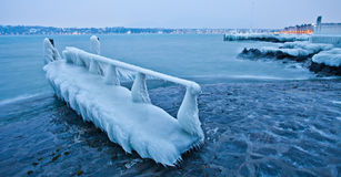 Small Pier Frozen Royalty Free Stock Photography