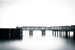 Small pier in the Patapsco River, at Fort Armistead Park, in Bal Stock Images