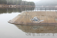 A small pier at the river with a painted eye of a whale Stock Images