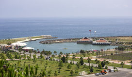 Small Pier and Park. Parks and small pond in the sea surrounded by breakwaters in Samsun Royalty Free Stock Image
