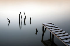 Small pier and wooden docks Royalty Free Stock Photo
