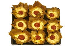 Small pies with cheese and tomato Stock Image