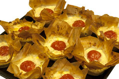 Small pies with cheese and tomato Royalty Free Stock Image