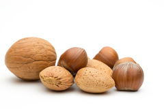 Small pile of assorted nuts Stock Photo