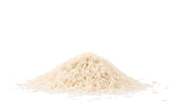 Small pile of basmati rice isolated on a white. Background stock images