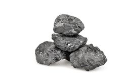 Small pile of coal isolated on white. Background royalty free stock photos