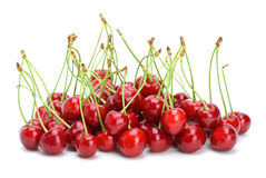 Small pile of red cherries with stalks Royalty Free Stock Photos