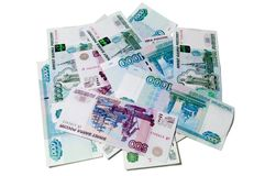 Small pile of rubles Royalty Free Stock Photos