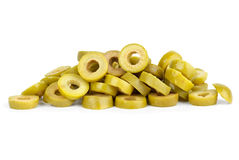Small pile of sliced green olives. Isolated on the white background Stock Photos