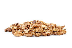Small pile of walnuts kernels. Isolated on the white background Stock Photography