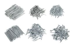 Small piles of different metal nails. Stock Photography