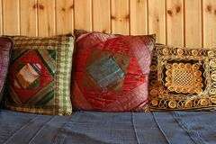 Small pillows. Oriental style Stock Photography