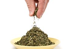 Small pinch of dried herb. Isolated on white background Royalty Free Stock Images
