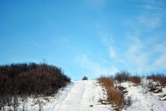 Small pine tree on hill, road covered with snow, on a background of blue cloudy sky. Ukraine royalty free stock images